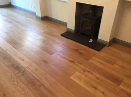 Rustic oak in front of fire place